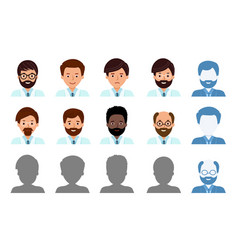 set avatar profile isolated icons smiling men vector image