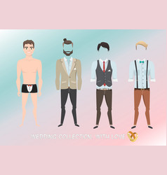 set of clothes for the groom in cartoon style vector image