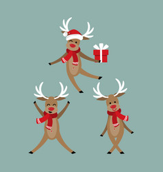 set of cute deers in winter custom vector image