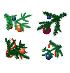 Set of fir branches with baubles vector image
