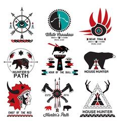 Set of hunting ethnics logo vector