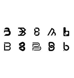 set of letter b logo vector image