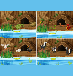 Set of nature swamp and animals vector