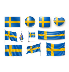set sweden flags banners banners symbols flat vector image
