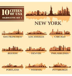 Set USA City 1 brown vector image