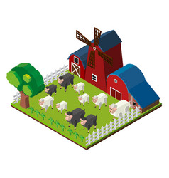 sheeps on the farm in 3d design vector image