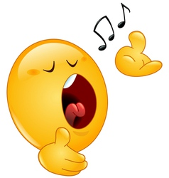 singing emoticon vector image