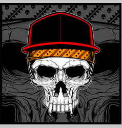 skull wearing cap and bandana vector image