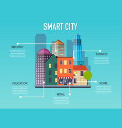 smart city concept modern city design with future vector image