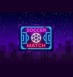 soccer match logo neon design template vector image