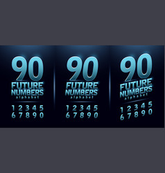 sport future number blue glow modern alphabet vector image