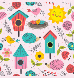 Spring seamless pattern with cute animals vector