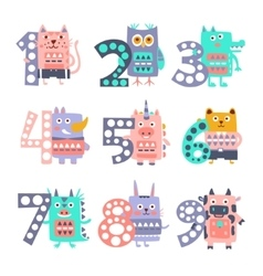 Stylized Funky Animals Standing Next To Digits vector