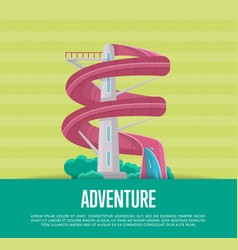 summer adventure poster with water slide vector image