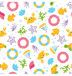 summer cartoon sea seamless pattern vector image