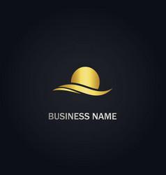 sun wave ocean gold logo vector image