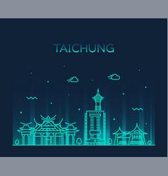 taichung city skyline taiwan linear style vector image