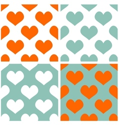 Tile pastel hearts background set vector image