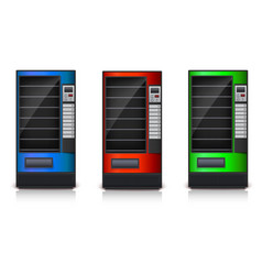 Vending machine with shelves green red and blue vector