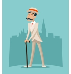 Wealthy Cartoon Victorian Gentleman Businessman vector image