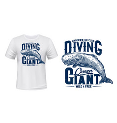 whale cachalot t-shirt print mockup diving club vector image