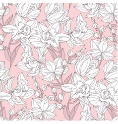 White orchid shilouette floral seamless pattern vector