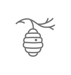 wild bee hive on tree beehive line icon vector image