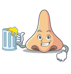 With juice nose mascot cartoon style vector