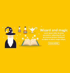 wizard and magic banner horizontal concept vector image