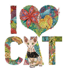 words i love cat with a figure of cat vector image