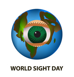 world sight day october 11 planet earth eye vector image