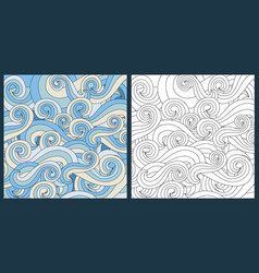 zentangle waves ocean water antistress vector image