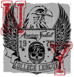 american football eagle logo tee graphic poster vector image vector image