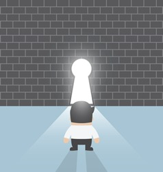 Businessman standing in front of keyhole vector image