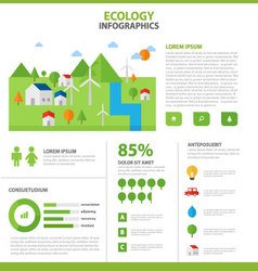 Ecology infographic elements flat design template vector image vector image