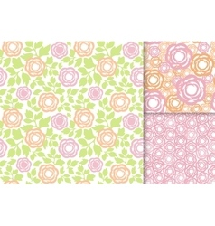 Rose flowers with green leaves seamless pattern vector image vector image