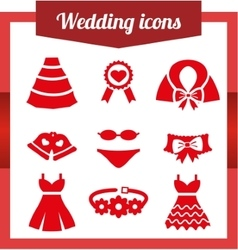 Set wedding icons vector image vector image