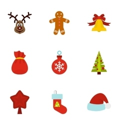 Winter holiday icons set flat style vector image vector image
