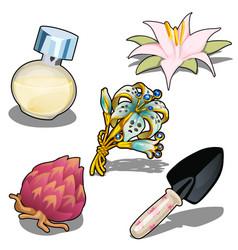 beautiful flowers perfume and garden trowel vector image