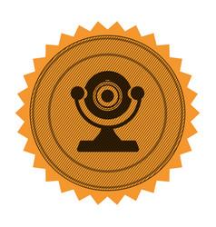 circular frame with contour sawtooth with desktop vector image