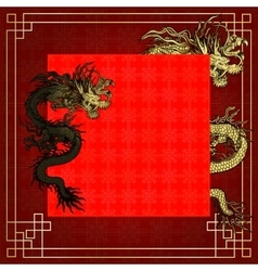 frame red dragon gold-colored sticker 5 vector image vector image