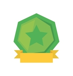 Green shield with star and yellow ribbon vector