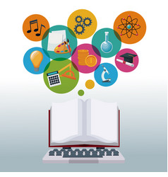 tech laptop and display open book with bubbles vector image vector image
