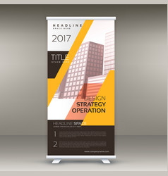 yellow standee roll up banner design with your vector image