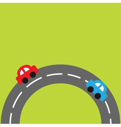 Background with round on the bottom road cars vector