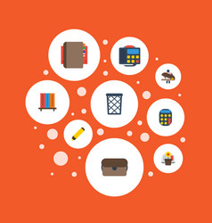 flat icons phone highlighter trash basket and vector image