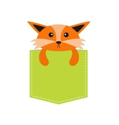 Fox in the pocket Cute cartoon character Dash vector image vector image