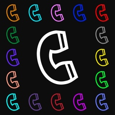 handset icon sign Lots of colorful symbols for vector image