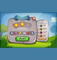 level panel with options for ui game vector image vector image