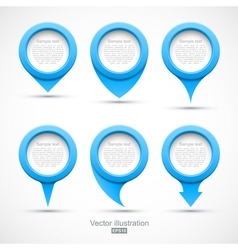 Set of blue circle pointers 3D vector image